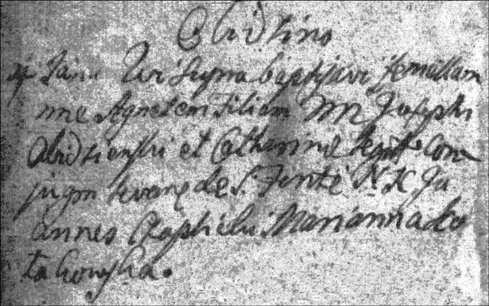 The Baptismal Record of Agnieszka Obidzienska - 1756