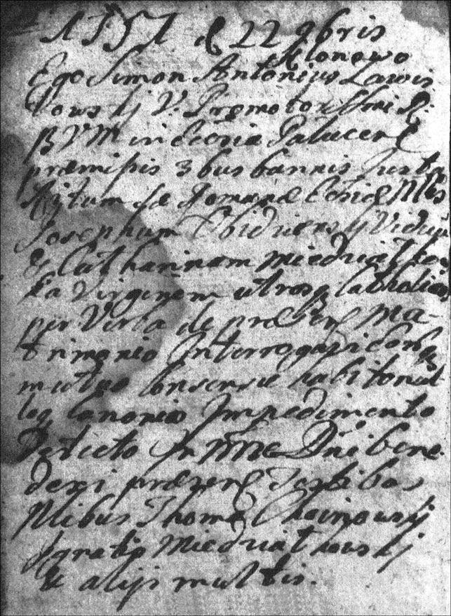 The Marriage Record of Jozef Obidzienski and Katarzyna Niedzialkowska - 1751
