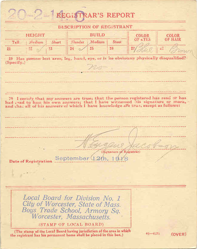 Michael Danko WWI Draft Card Reverse