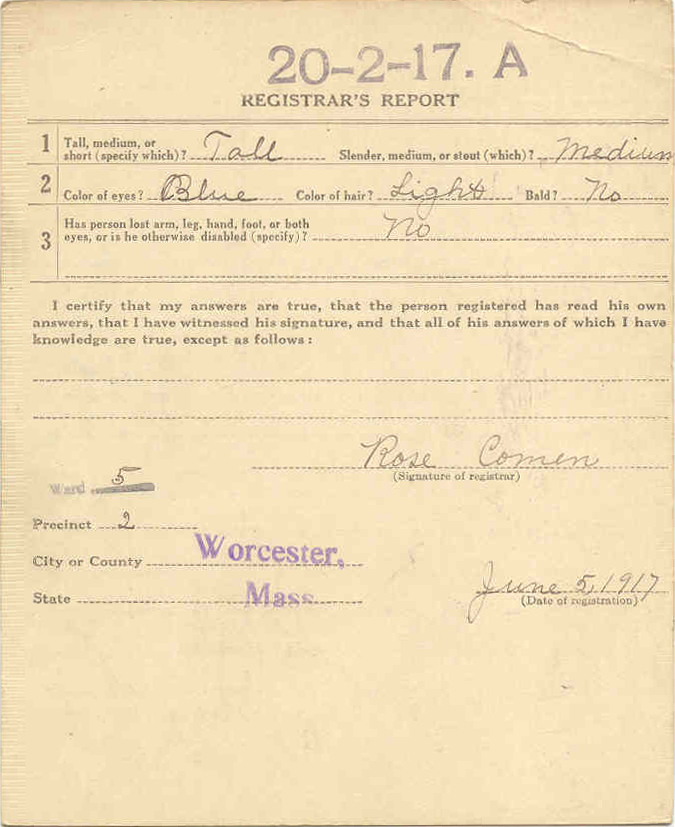 World War I Draft Registration Card for Kostanty Niedzialkowski (Reverse)