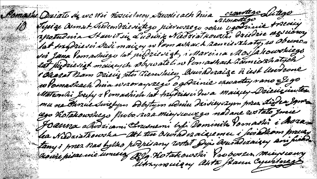 The Birth and Baptismal Record of Joanna Niedzialkowska - 1871