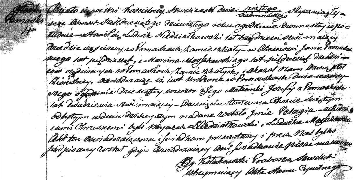 The Birth and Baptismal Record of Pelagia Niedzialkowska - 1869 (Polish)