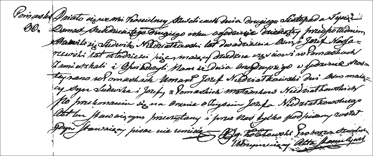 The Death Record of Jozef Niedzialkowski - 1862
