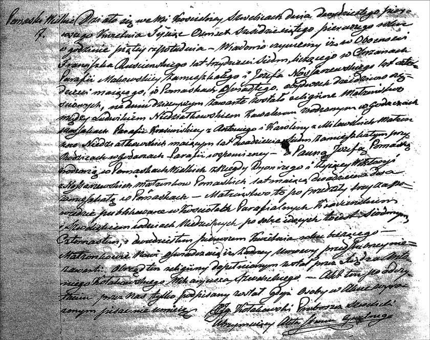 The Marriage Record of Ludwik Niedzialkowski and Jozefa Pomaska - 1861