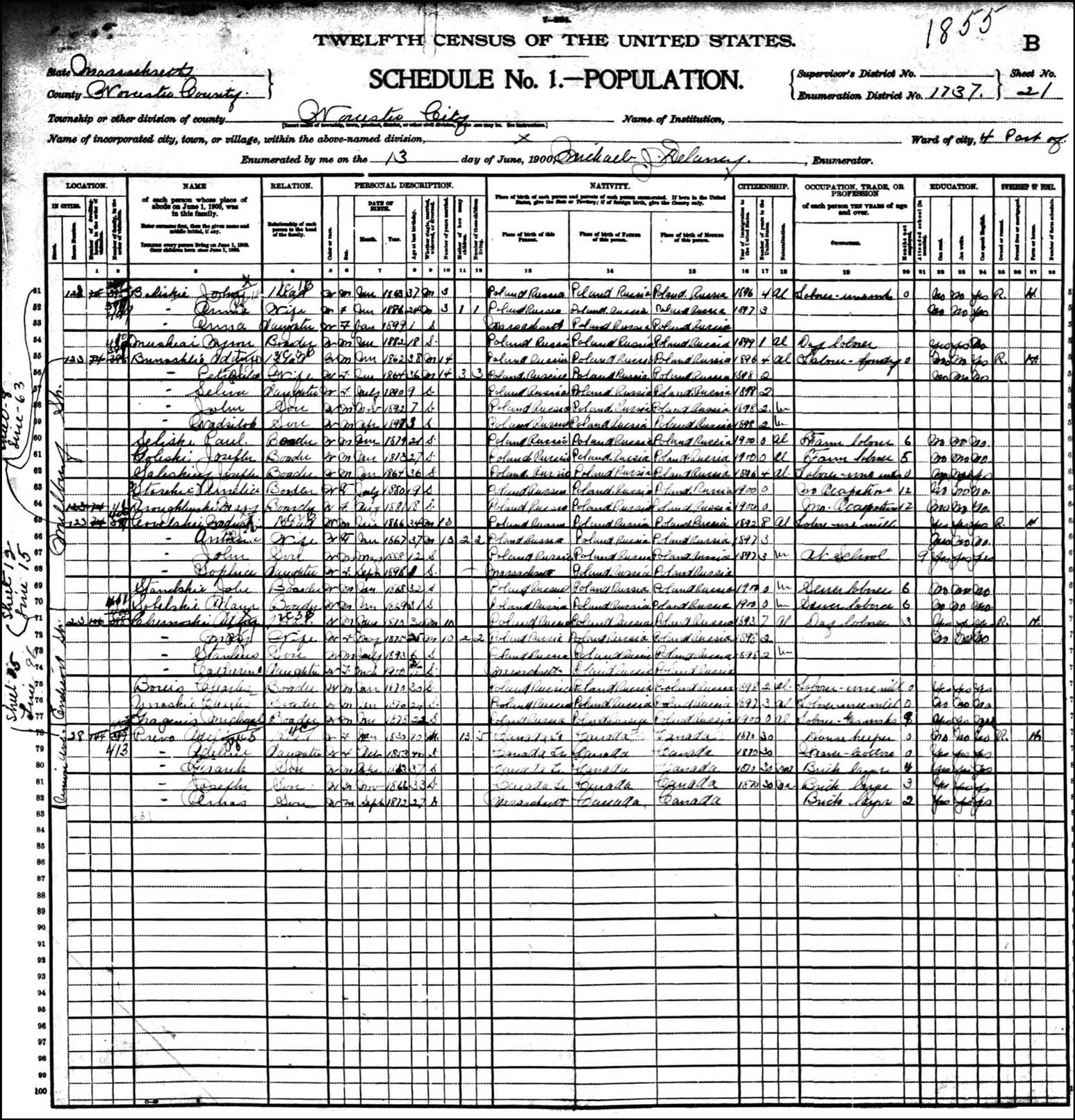 1900 US Federal Census Record for Adam Bonislawski