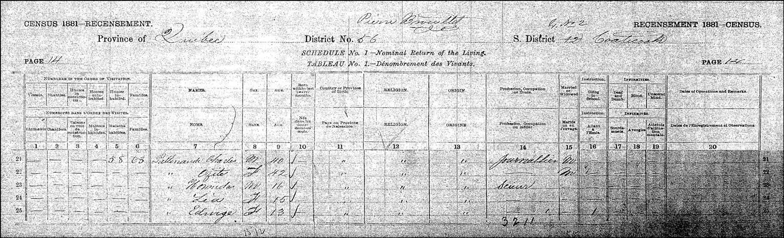 1881 Canadian Census Record for Charles Patenaude and Family - Page 1