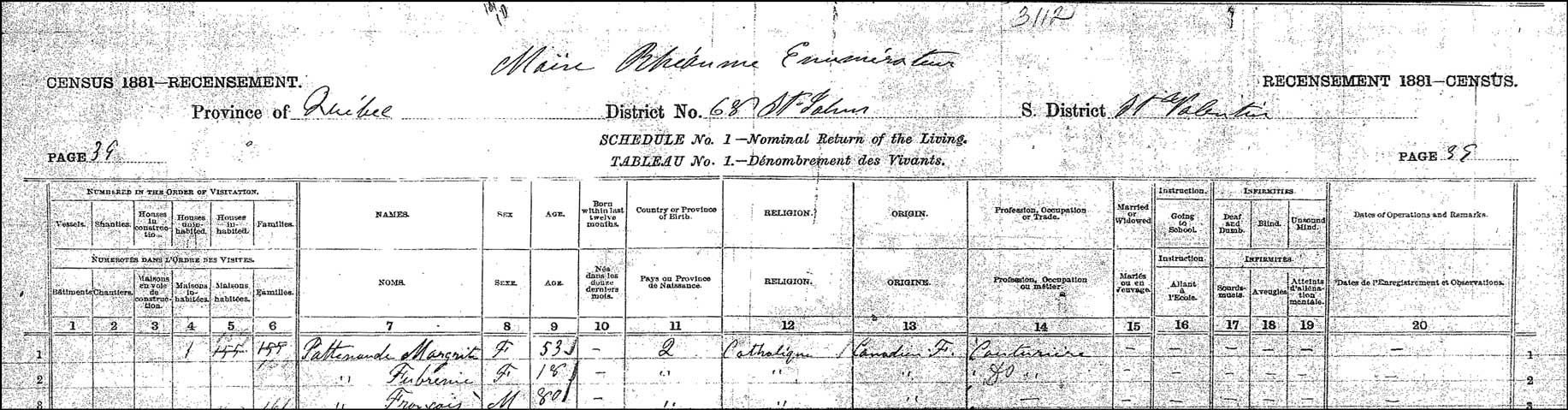 The 1881 Quebec Canada Census Record for Marguerite Patenaude and Family