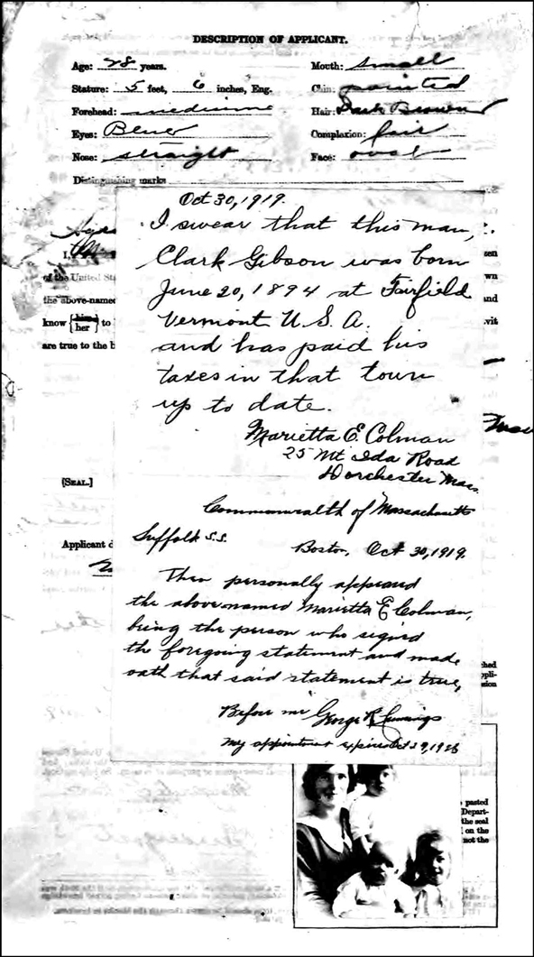 The US Passport Application of Margaret Gibson - Back