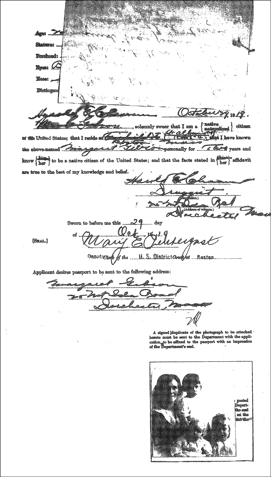 US Passport Application of Margaret Coyle Gibson - Back (Revealed)