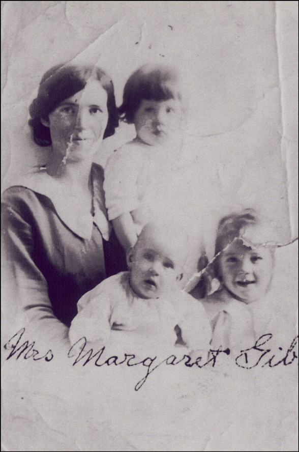 Passport Photo of Margaret Coyle Gibson and Her Children
