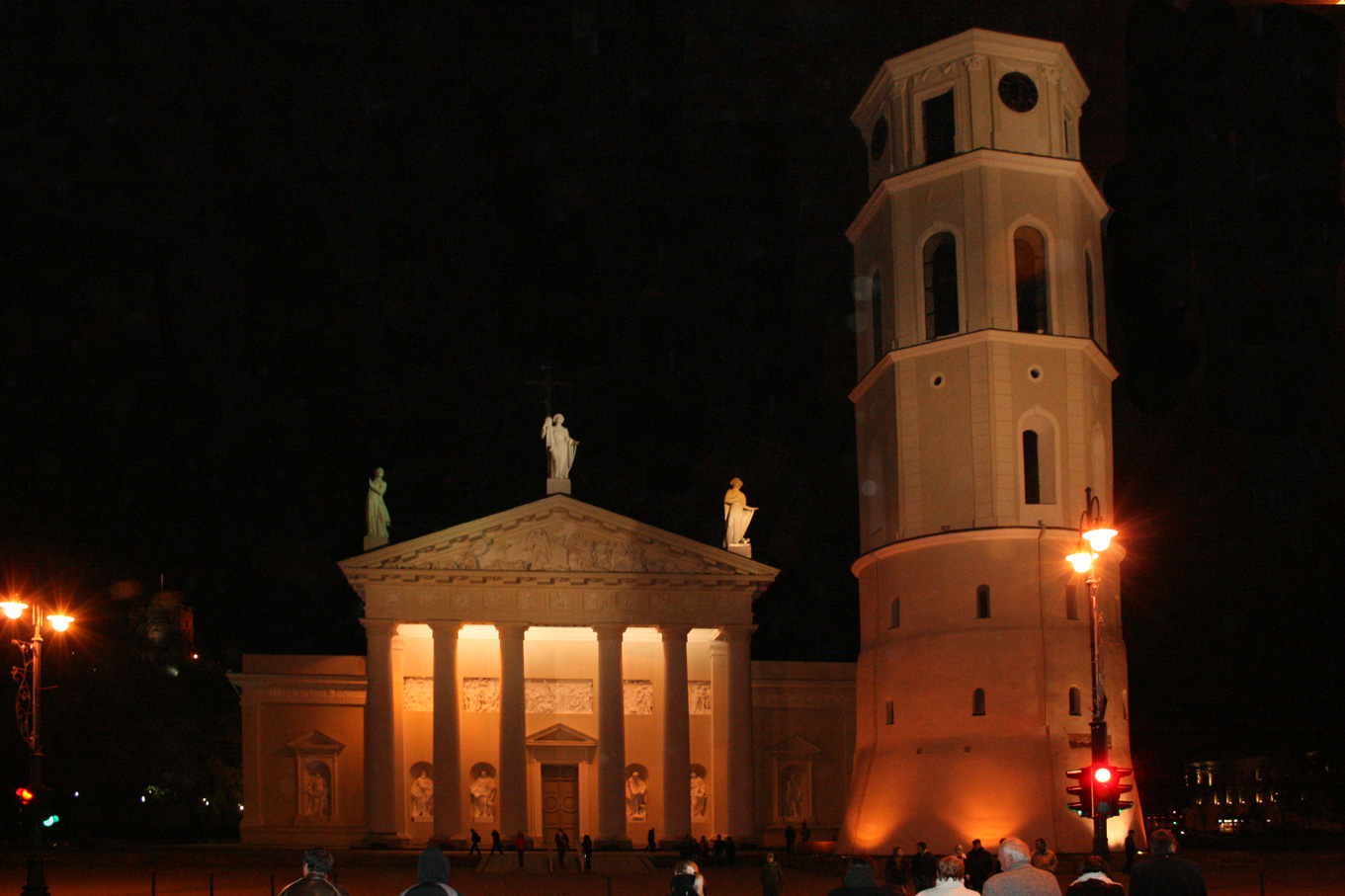 Roman Catholic Vilnius Cathedral by Night - Vilnius Lithuania