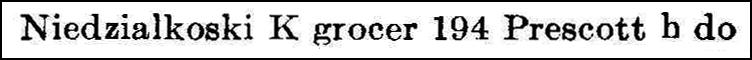 Worcester Directory 1921 Entry for Kostanty Niedzialkoski