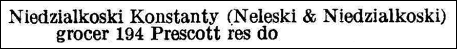 Worcester, Massachusetts Directory 1924 Entry for Kostanty Niedzialkowski