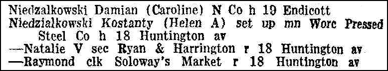 Worcester Directory 1942 Entry for Kostanty and Helen Niedzialkowski