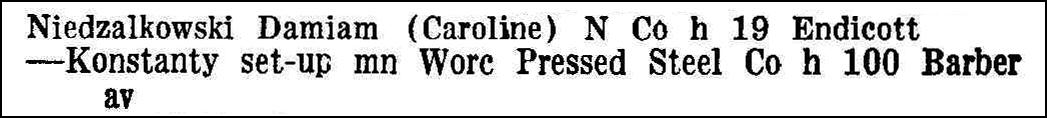Worcester Directory 1944 Entry for Konstanty Niedzialkowski