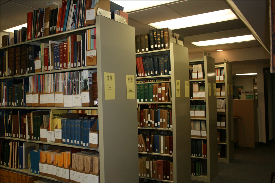 Stacks at the California Genealogical Society and Library