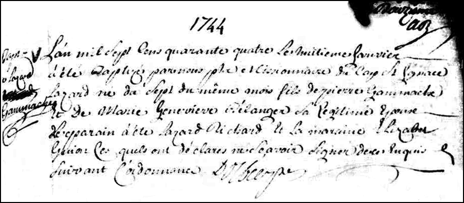Birth and Baptismal Record of Lazard Gamache - 1744