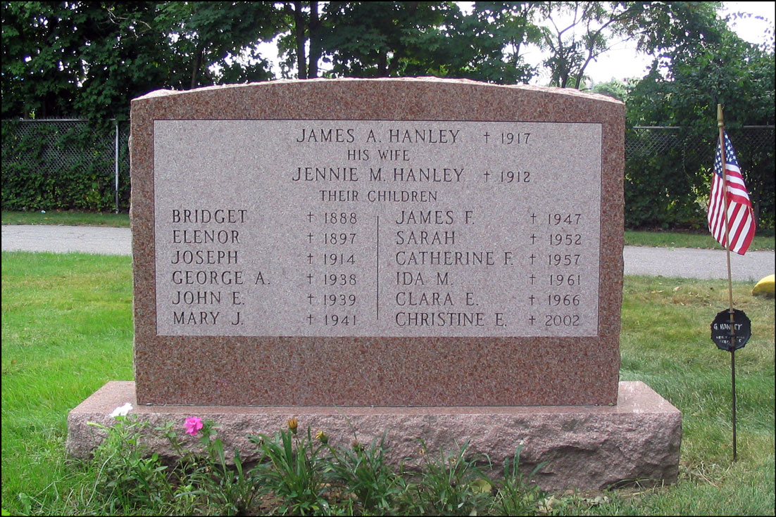 The Grave Marker of George A. Hanley and Anne Remibiszewski - Back