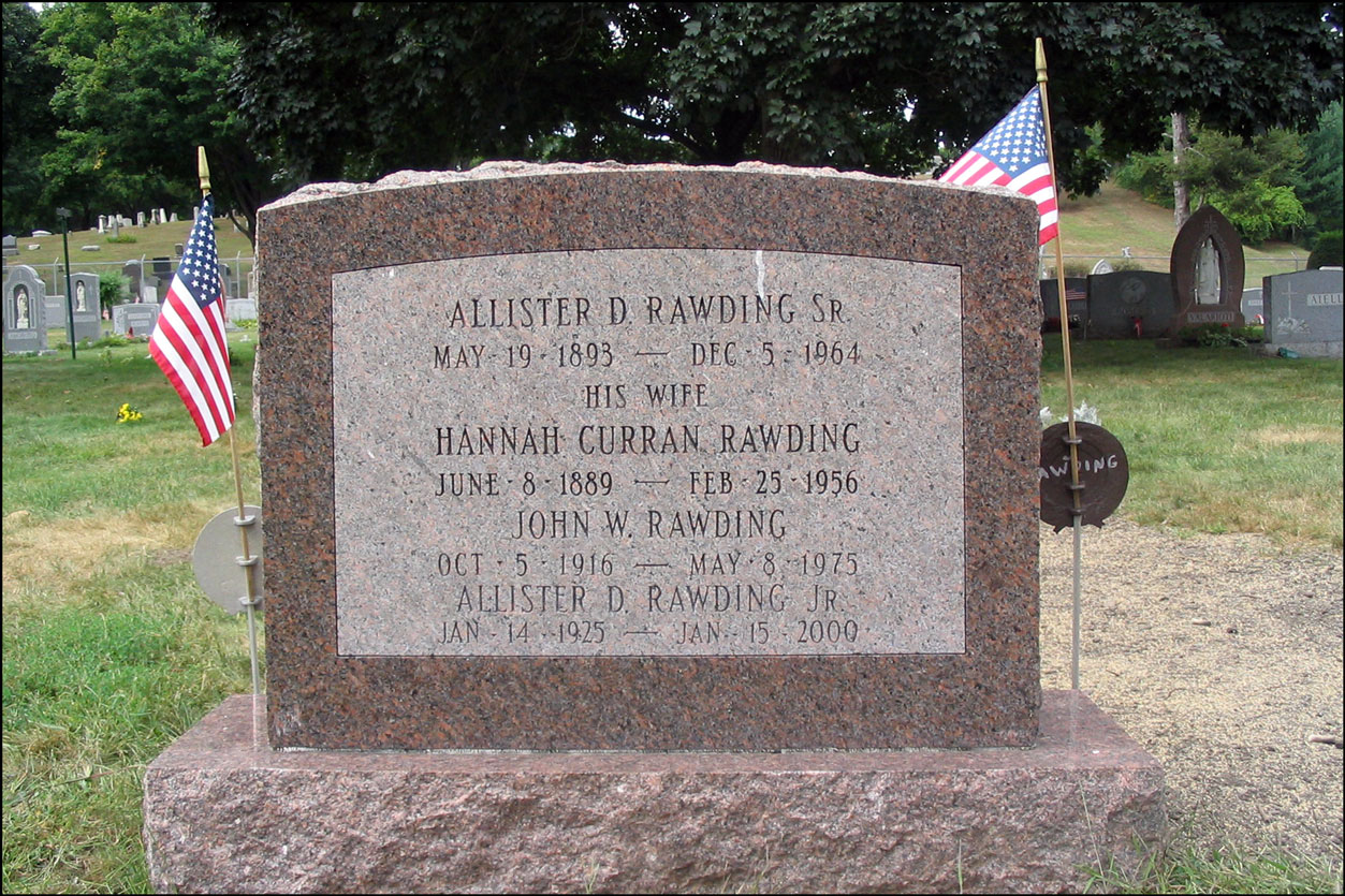 The Gravestone of the Allister Daniel Rawding Family - Back