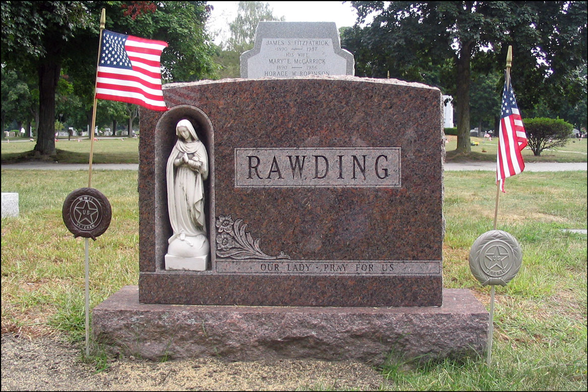 The Gravestone of the Allister Daniel Rawding Family - Front
