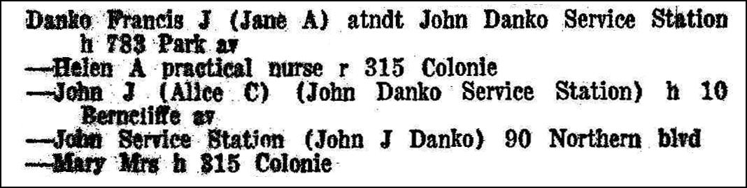 Albany, New York Directory 1957 Entry for the Danko Families