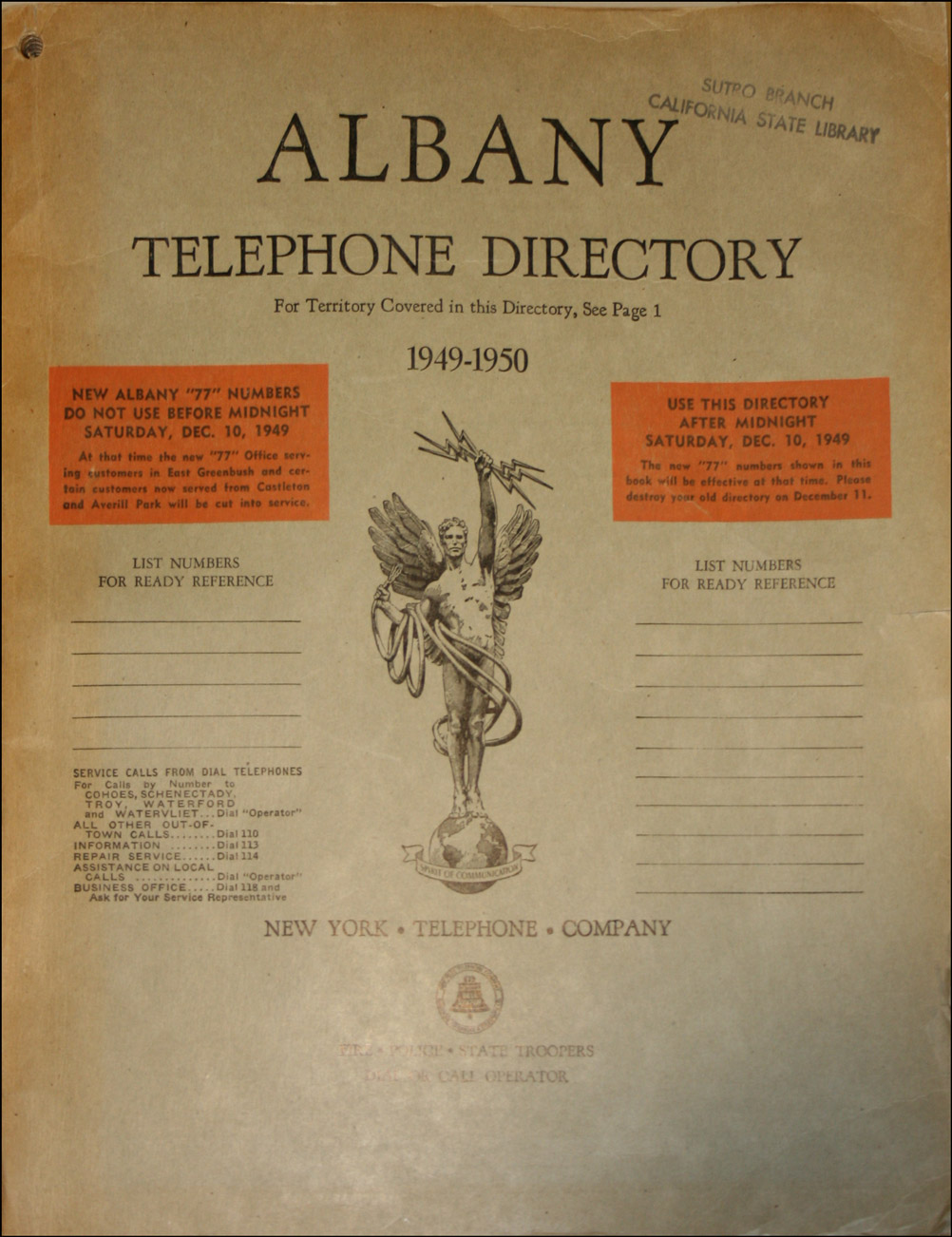 Cover of the 1949-1950 Telephone Directory for Albany, New York