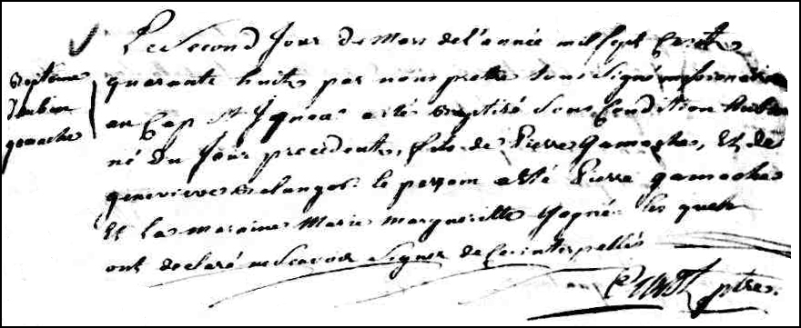 The Birth and Baptismal Record of Aubin Gamache - 1748