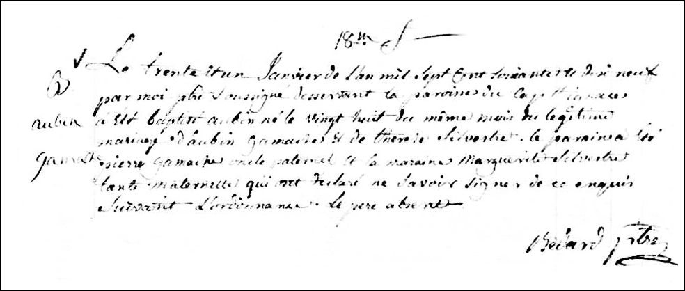 The Birth and Baptismal Record of Aubin Gamache - 1779