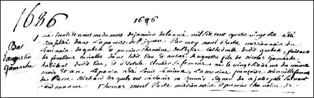 The Birth and Baptismal Record of Augustin Gamache - 1686