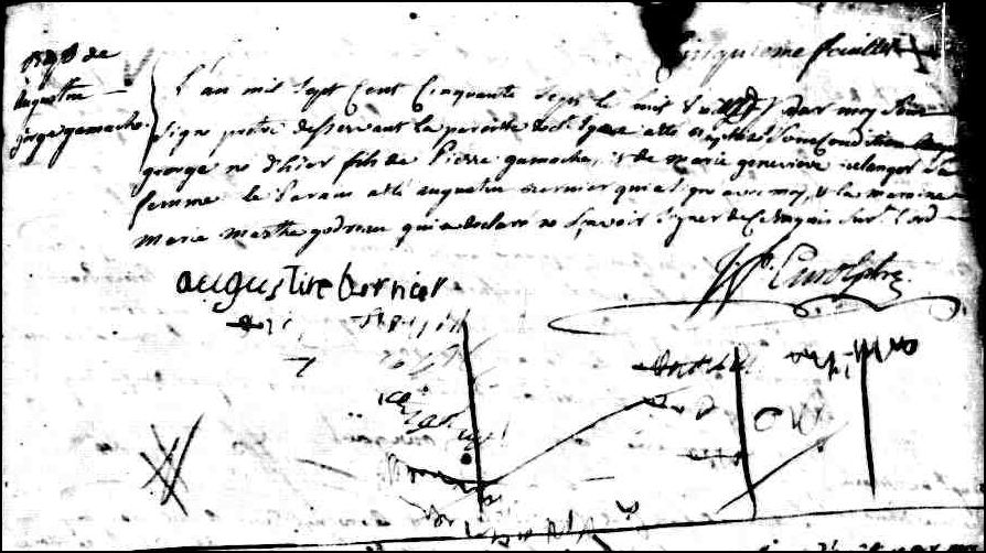 The Birth and Baptismal Record of Augustin George Gamache - 1757