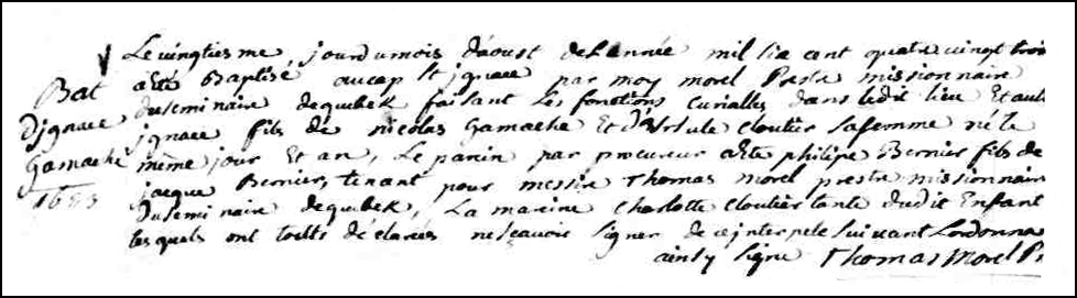 The Birth and Baptismal Record of Ignace Gamache - 1683