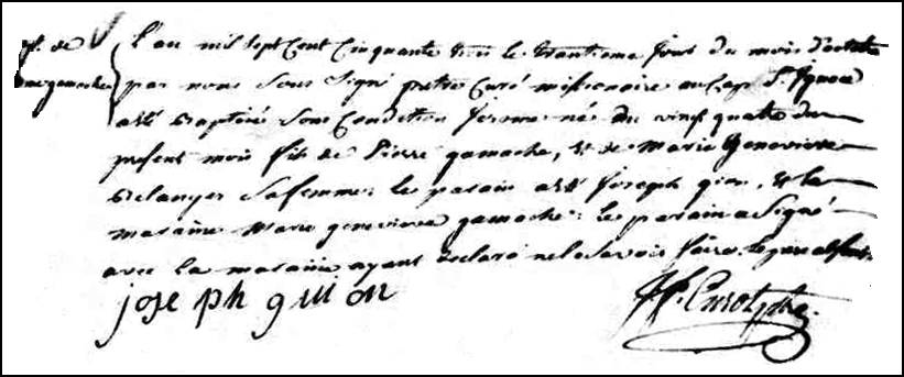 The Birth and Baptismal Record of Jérôme Gamache - 1753