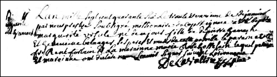 The Birth and Baptismal Record of Marguerite Ursule Gamache - 1746