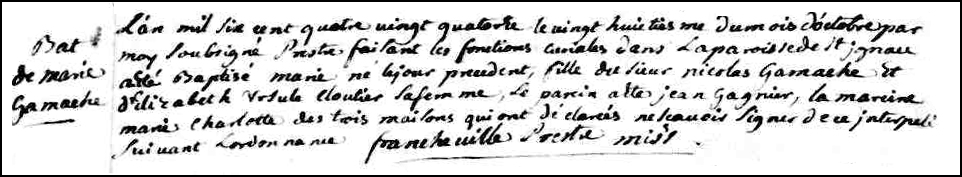 The Birth and Baptismal Record of Marie Gamache - 1694