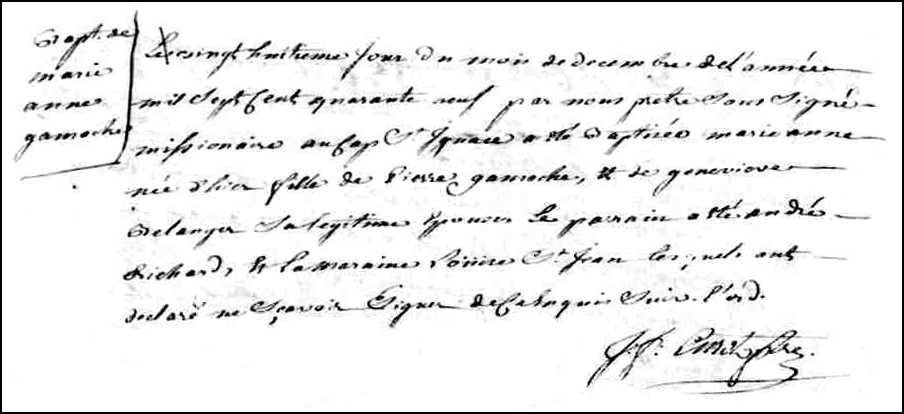 The Birth and Baptismal Record of Marie Anne Gamache - 1749