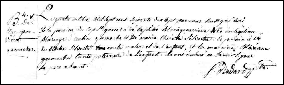 The Birth and Baptismal Record of Marie Genevieve Gamache - 1777