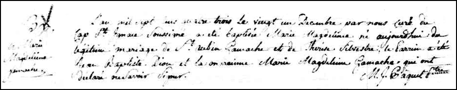 The Birth and Baptismal Record of Marie Magdeleine Gamache - 1783