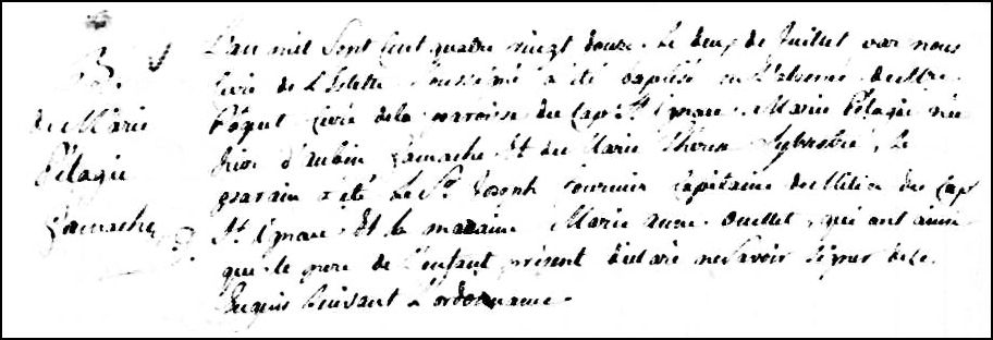 The Birth and Baptismal Record of Marie Pélagie Gamache - 1792