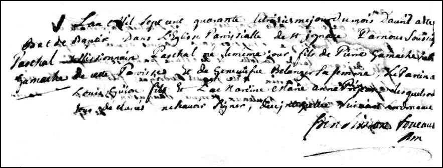The Birth and Baptismal Record of Paschal Gamache - 1740