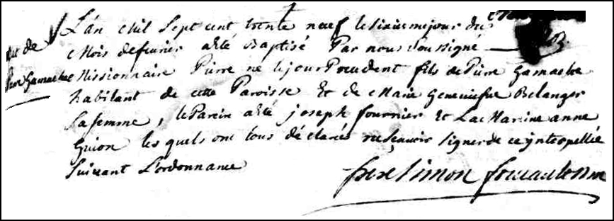 The Birth and Baptismal Record of Pierre Gamache - 1739