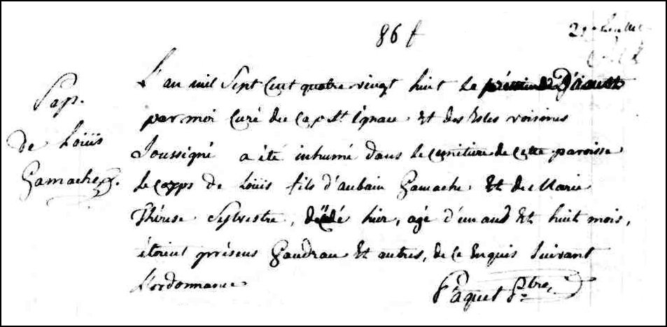 The Death and Burial Record of Louis Gamache - 1788