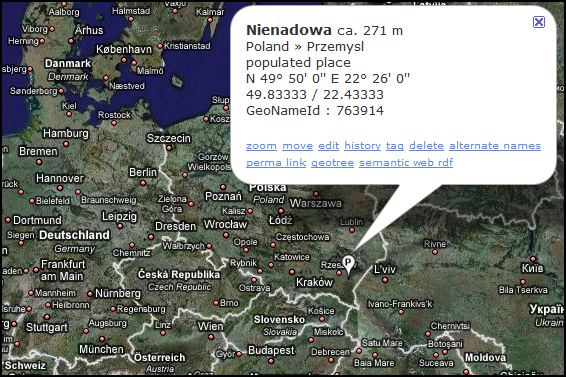 The Polish Village of Nienadowa, Poland on GeoNames