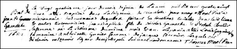 The Birth and Baptismal Record of Jean Baptiste Gamache - 1682