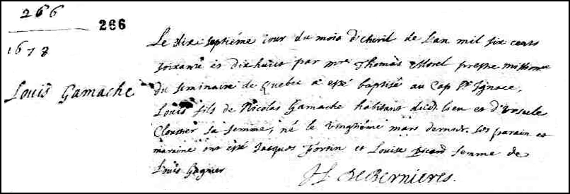 The Birth and Baptismal Record of Louis Gamache - 1678