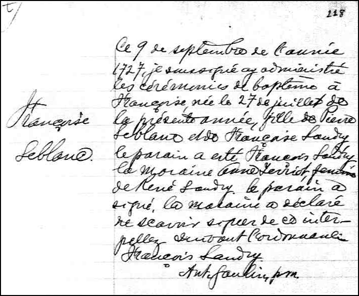 The Birth and Baptismal Record of Francoise LeBlanc - 1727