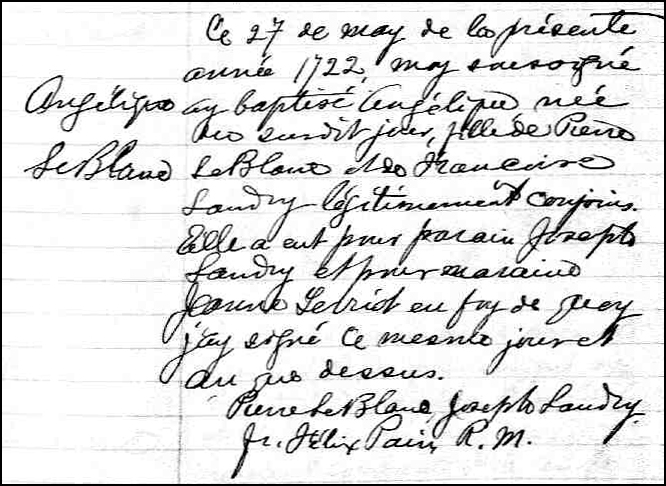 The Birth and Baptismal Record of Angelique LeBlanc - 1722