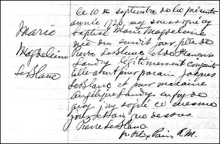 The Birth and Baptismal Record of Marie Magdeleine Leblanc - 1723