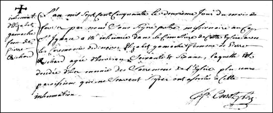 The Death and Burial Record of Elisabeth Gamache - 1750