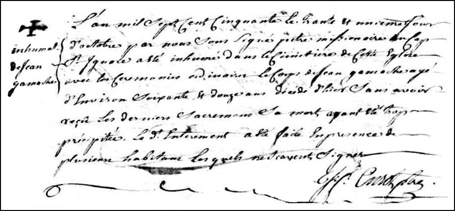 The Death and Burial Record of Jean Gamache -1750