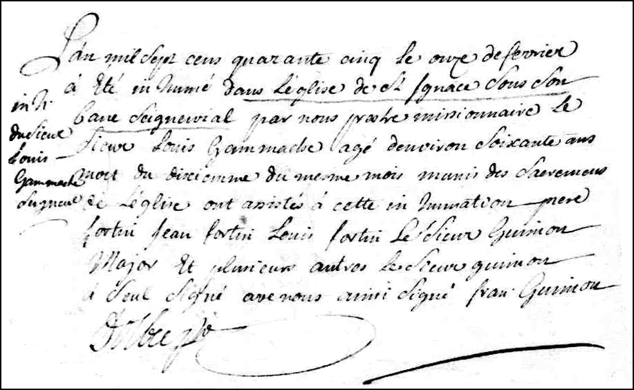 The Death and Burial Record of Louis Gamache - 1745